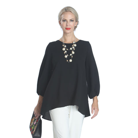 IC Collection Scoop Back Blouse w/ Cascading Bow -1028B-BLK - Size S Only