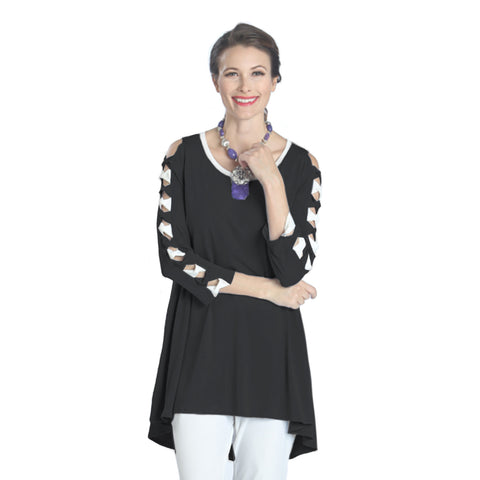 IC Collection High-Low Bow Detail Tunic in Black & White - 1030T-BW