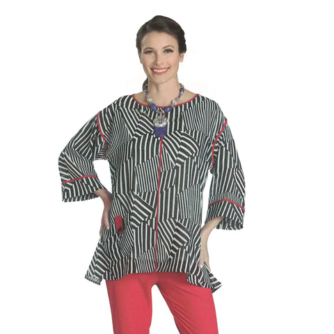 IC Collection Striped Tunic Blouse in Black/White/ Red - 1035T - Sizes S & XL Only