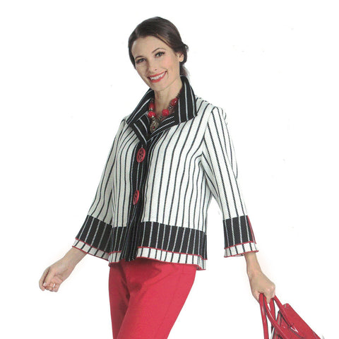 IC Collection Striped Button Front Short Jacket in Red/White/Black - 1037J- Size S Only