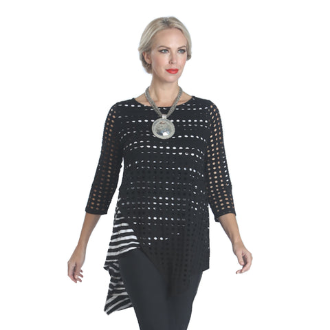 IC Collection Mixed Media Layered Tunic Top - 1058T-BLK