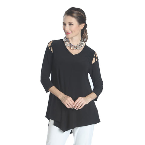 IC Collection Criss Cross Peek-a- Boo Cold Shoulder Tunic in Black - 1059T-BK