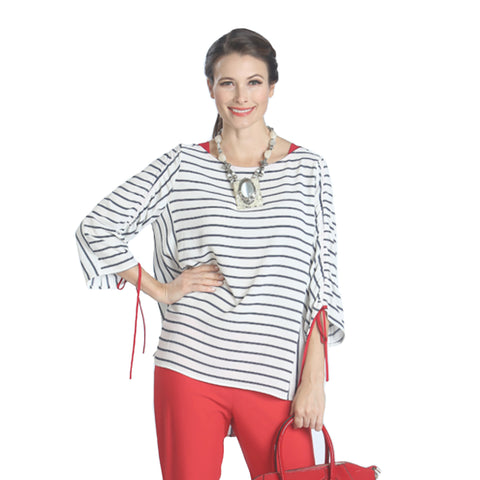 IC Collection Tie Sleeve Striped Loose Fit Top in Navy/White/Red - 1063T-WT