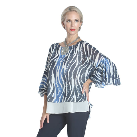 IC Collection Zebra Stripe Print Layered Top in Blue/Multi- 1079T-BL