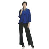 IC Collection One-Button Asymmetric Jacket with Bow Detail Sleeves - 1083J-BLU - Size XXL Only