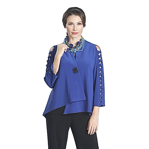 IC Collection Asymmetric Jacket w/Cutout Sleeves - 1083J-BLU - Size XXL Only