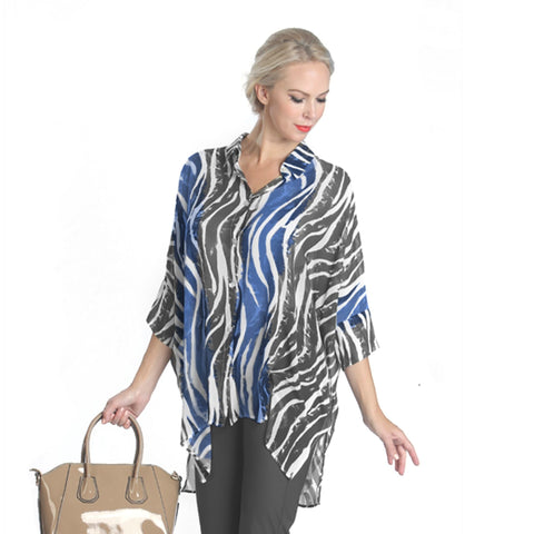 IC Collection Sheer Zebra Print High-Low Blouse in Blue/Multi - 1086B-BLU - Size S Only