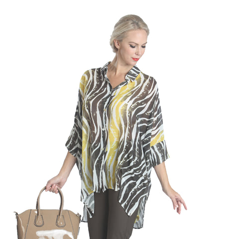 IC Collection Zebra Stripe High-Low Blouse in Yellow/Multi  1086B-YW