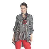 IC Collection Striped High-Low Blouse in Black, White & Red - 1087J