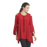 Open Shoulder Zip Front Tunic w/ Trumpet Sleeves in Red - 1094T-RED - Size M Only