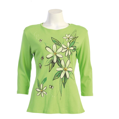 "Jess & Jane ""Bee Free"" Abstract Floral Print Top in Lime - 14-1583"