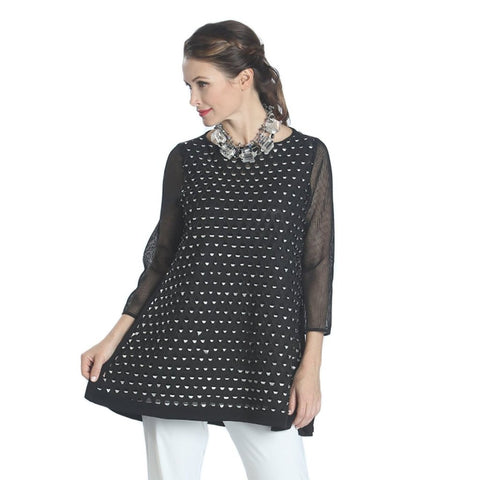 IC Collection Mesh Laser Cut Out Tunic in Black - 1110T-BK