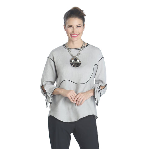 IC Collection Ribbed Tunic Top in Gray - 1121T-GRY