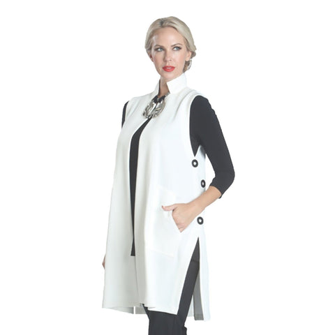IC Collection Long Side Slit Vest in White 1142V-WT - Sizes S, L & XL Only