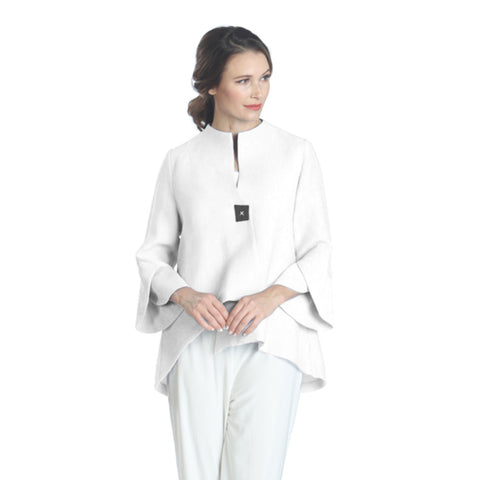 IC Collection Trumpet Sleeve Jacket in White -3042J-WHT