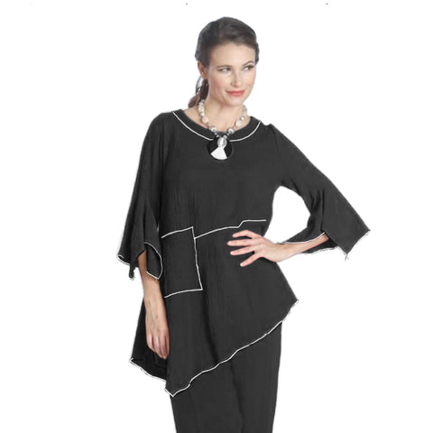IC Collection Tunic w/ Piping Trim in Black/White - 1157T-BLK