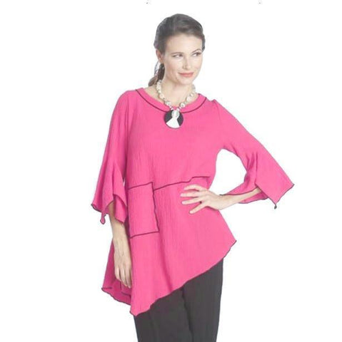 IC Collection Tunic w/ Piping Trim in Pink/Black - 1157T-PNK