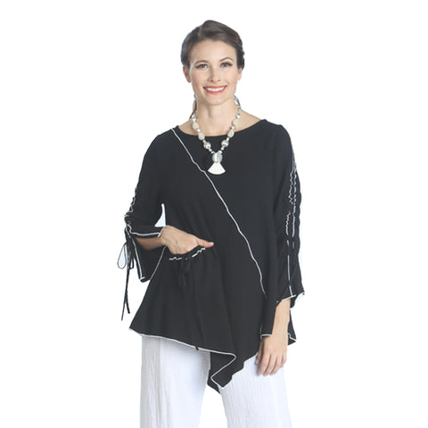 311e3a49e0 IC Collection Tunic w  Piping Trim in Black White - 1158T-BK -