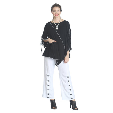 IC Collection Textured Pull On Button Pant in White - 1158P-WT