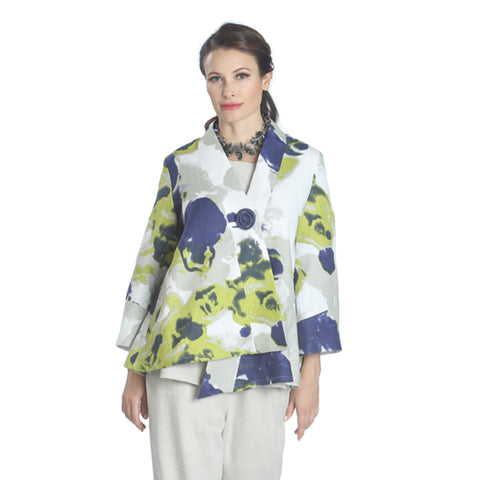 IC Collection Abstract Print Kimono Jacket in Multicolor - 1159J-WT