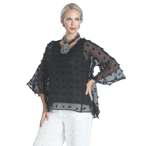 "IC Collection ""Sheer Elegance"" V-Neck Top - 1168T-BLK - Sizes M & L Only"