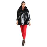 IC Collection Shiny Mid-Length Jacket in Black - 1172J-BK - Sizes L & XL Only