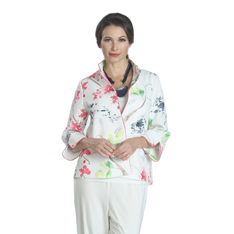 IC Collection Floral Piped-Trim Jacket in Pink/Multi - 1179J - Sizes S & M Only