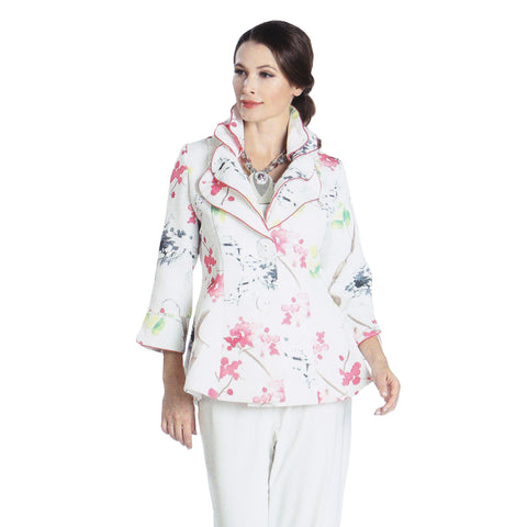 IC Collection Button-Front Floral Print Fitted Jacket in Pink/Multi - 1184J