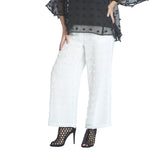 IC Collection Eyelash Trim Pull-On Pant in White - 1185P-WHT - Size S Only