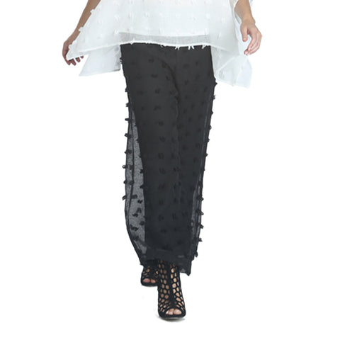 IC Collection Eyelash Detail Pants in Black - 1185P-BLK - Size S Only