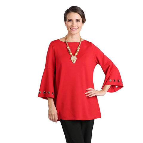 IC Collection Grommet Bell Sleeve Tunic Top in Red - 1195T