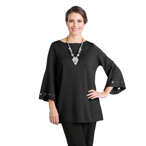IC Collection Grommet Bell Sleeve Tunic Top in Black - 1195T