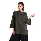 IC Collection Faux Suede Tunic in Olive - 1196T-OLV