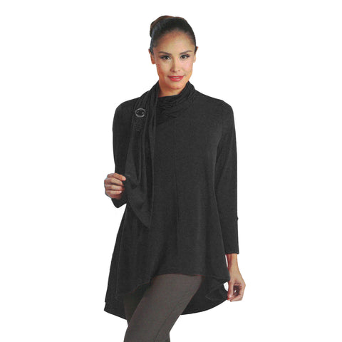 IC Collection Knit High-Low Scarf Tunic in Black - 1197T-BLK