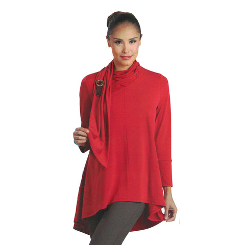 IC Collection Soft Knit Swing Tunic in Red - 1197T-RD - Size XL Only