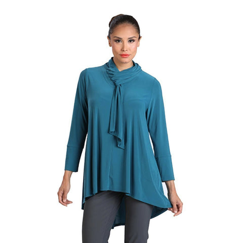 IC Collection Knit High-Low Scarf Tunic in Teal - 1197T-TL - Size L Only