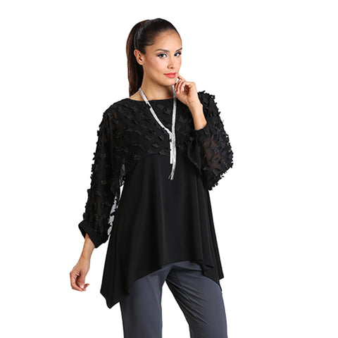 IC Collection Tunic Top w/3D Butterfly Details - 1199T-BLK - Sizes S & XL Only