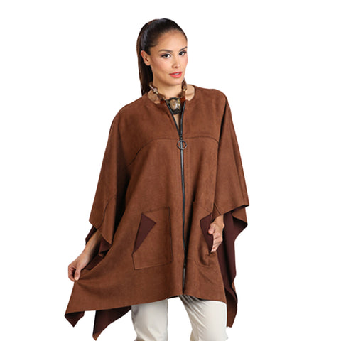 IC Collection Faux Suede Zip Front Poncho in Camel - 1205PC - Sizes S & L Only