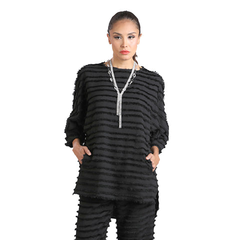 IC Collection Eyelash Fringe High-Low Tunic in Black- 1222T-BLK- Size S & XXL Only