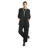 IC Collection Eyelash Detail Pants in Black - 1223P-BK