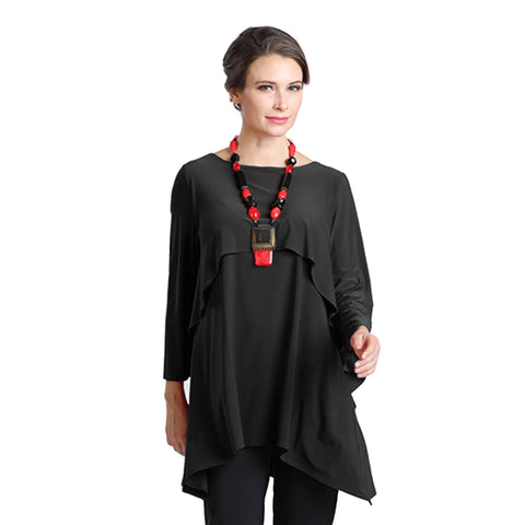 IC Collection Overlay Stretch Knit Tunic in Black - 1224T-BLK