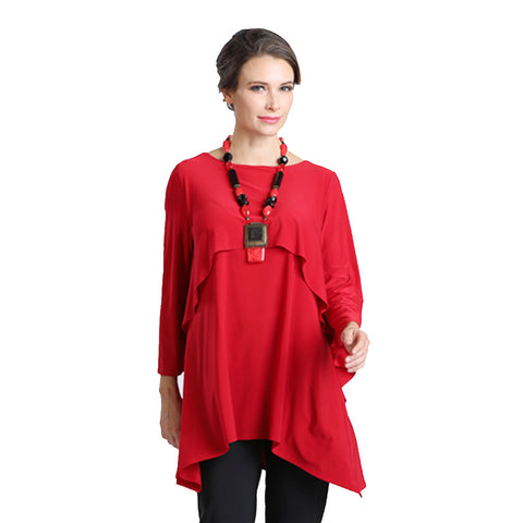 IC Collection Overlay Stretch Knit Tunic in Red - 1224T-RD -