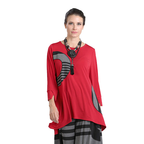 IC Collection Soft Knit Semicircle Stripe Print Tunic in Red - 1225T - Size XXL Only