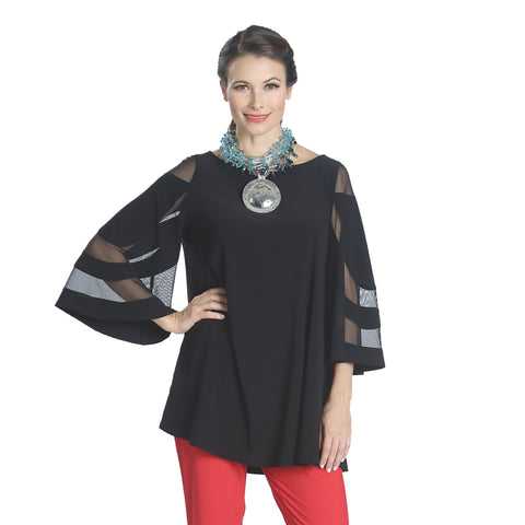 IC Collection Mesh Sleeve Tunic in Black - 1241T-BK
