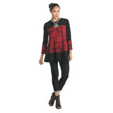 IC Collection Mixed Media Tunic in Red & Black ♥ 1262T