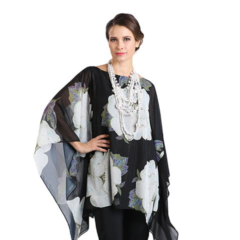 IC Collection Floral Print Poncho Top in Black - 1266T-BLK