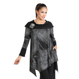 IC Collection Leaf Print Cowl Neck Tunic in Grey/Black - 1296T-GRY - Size S Only