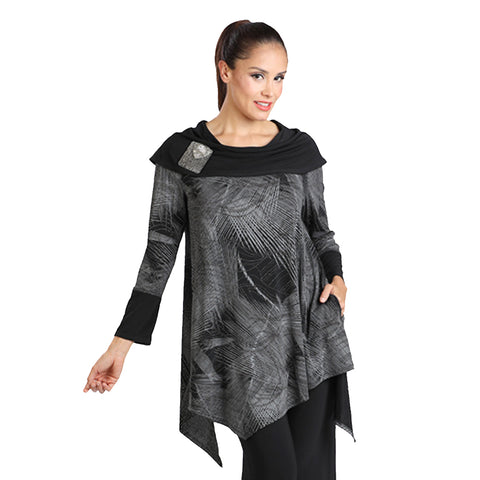 IC Collection Cowl Neck Abstract Print Tunic in Silver/ Black - 1296T-SLV - Size S Only