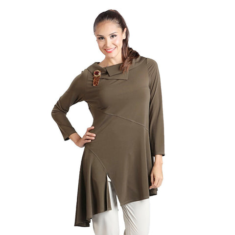 IC Collection Angle Hem w/Front Slit Tunic in Olive - 1297T-OLV - Size L Only
