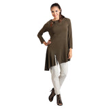 IC Collection Angle Hem w/Front Slit Tunic in Olive - 1297T-OLV - sizes L & XL Only
